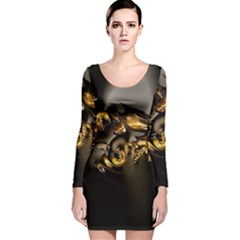 Fractal Mathematics Abstract Long Sleeve Velvet Bodycon Dress