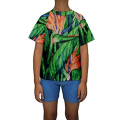 Flowers Art Beautiful Kids  Short Sleeve Swimwear