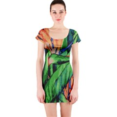 Flowers Art Beautiful Short Sleeve Bodycon Dress