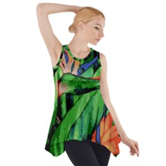 Flowers Art Beautiful Side Drop Tank Tunic