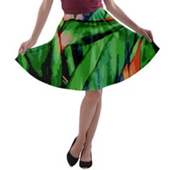 Flowers Art Beautiful A Line Skater Skirt