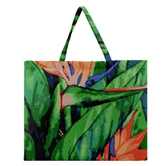 Flowers Art Beautiful Zipper Large Tote Bag