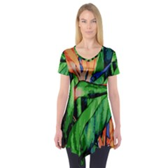 Flowers Art Beautiful Short Sleeve Tunic