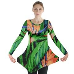 Flowers Art Beautiful Long Sleeve Tunic
