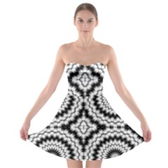 Pattern Tile Seamless Design Strapless Bra Top Dress
