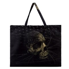 Skull Fantasy Dark Surreal Zipper Large Tote Bag