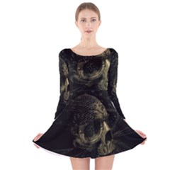 Skull Fantasy Dark Surreal Long Sleeve Velvet Skater Dress