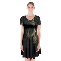Skull Fantasy Dark Surreal Short Sleeve V-neck Flare Dress