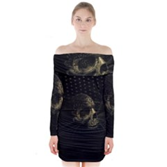 Skull Fantasy Dark Surreal Long Sleeve Off Shoulder Dress