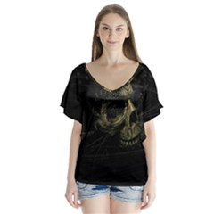 Skull Fantasy Dark Surreal Flutter Sleeve Top