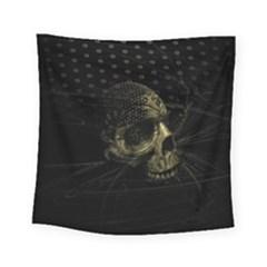 Skull Fantasy Dark Surreal Square Tapestry (small)