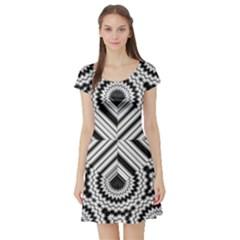 Pattern Tile Seamless Design Short Sleeve Skater Dress