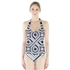 Pattern Tile Seamless Design Halter Swimsuit