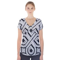 Pattern Tile Seamless Design Short Sleeve Front Detail Top