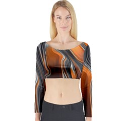 Fractal Structure Mathematic Long Sleeve Crop Top