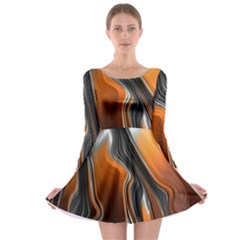 Fractal Structure Mathematic Long Sleeve Skater Dress