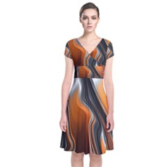 Fractal Structure Mathematic Short Sleeve Front Wrap Dress