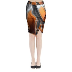 Fractal Structure Mathematic Midi Wrap Pencil Skirt