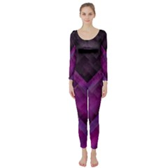 Purple Background Wallpaper Motif Design Long Sleeve Catsuit