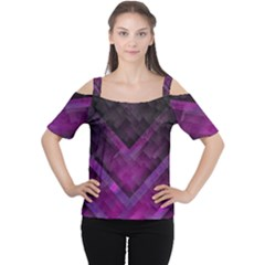 Purple Background Wallpaper Motif Design Women s Cutout Shoulder Tee