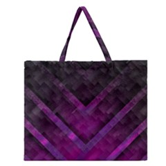 Purple Background Wallpaper Motif Design Zipper Large Tote Bag