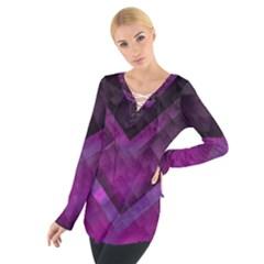 Purple Background Wallpaper Motif Design Women s Tie Up Tee