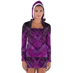 Purple Background Wallpaper Motif Design Women s Long Sleeve Hooded T-shirt