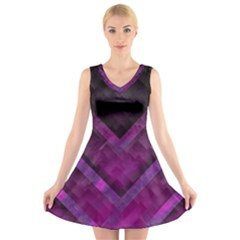 Purple Background Wallpaper Motif Design V Neck Sleeveless Skater Dress