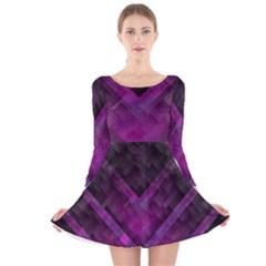Purple Background Wallpaper Motif Design Long Sleeve Velvet Skater Dress