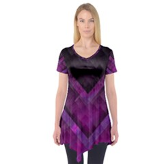 Purple Background Wallpaper Motif Design Short Sleeve Tunic