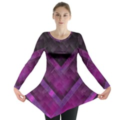 Purple Background Wallpaper Motif Design Long Sleeve Tunic
