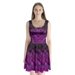 Purple Background Wallpaper Motif Design Split Back Mini Dress