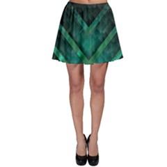 Green Background Wallpaper Motif Design Skater Skirt