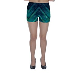 Green Background Wallpaper Motif Design Skinny Shorts