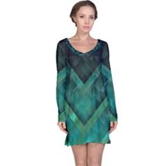 Green Background Wallpaper Motif Design Long Sleeve Nightdress