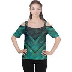 Green Background Wallpaper Motif Design Women s Cutout Shoulder Tee