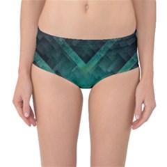 Green Background Wallpaper Motif Design Mid Waist Bikini Bottoms