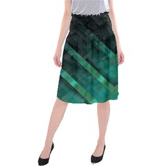 Green Background Wallpaper Motif Design Midi Beach Skirt