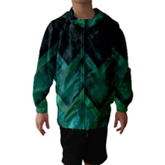 Green Background Wallpaper Motif Design Hooded Wind Breaker (kids)