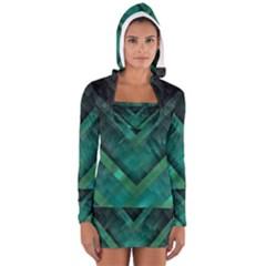 Green Background Wallpaper Motif Design Women s Long Sleeve Hooded T Shirt
