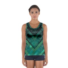 Green Background Wallpaper Motif Design Women s Sport Tank Top