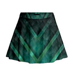 Green Background Wallpaper Motif Design Mini Flare Skirt