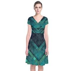 Green Background Wallpaper Motif Design Short Sleeve Front Wrap Dress