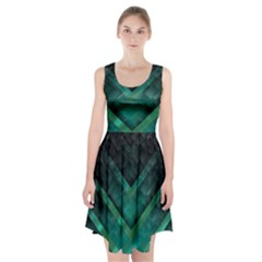 Green Background Wallpaper Motif Design Racerback Midi Dress