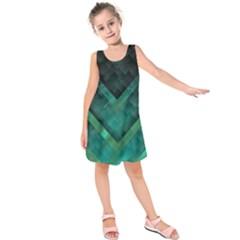Green Background Wallpaper Motif Design Kids  Sleeveless Dress