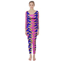 Triangle Pink Blue Long Sleeve Catsuit