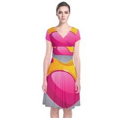 Valentine Heart Having Transparency Effect Pink Yellow Short Sleeve Front Wrap Dress