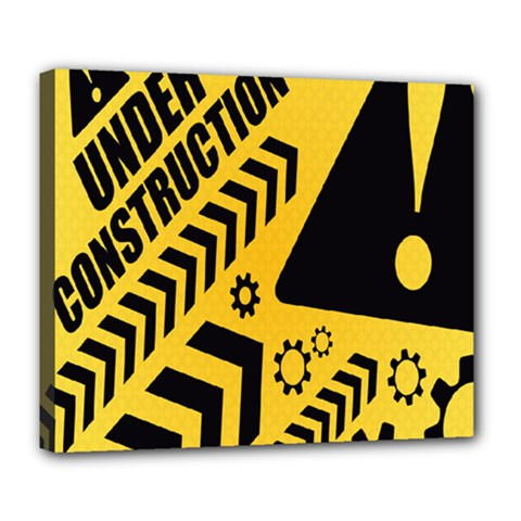 Under Construction Line Maintenen Progres Yellow Sign Deluxe Canvas 24  x 20