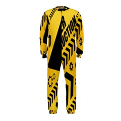 Under Construction Line Maintenen Progres Yellow Sign Onepiece Jumpsuit (kids)