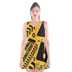 Under Construction Line Maintenen Progres Yellow Sign Scoop Neck Skater Dress